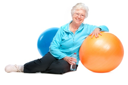 senior woman resting after exercises In gym Stock Photo - 13203124