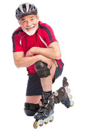 rollerskater: senior man goes inline skating Stock Photo