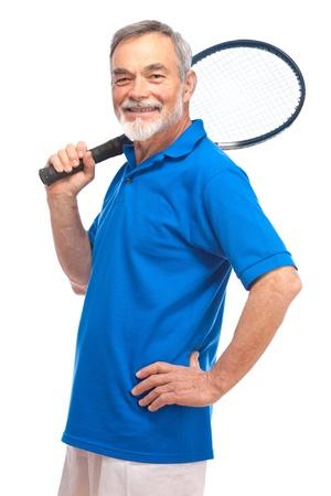 70s tennis: Happy senior man with a tennis racket