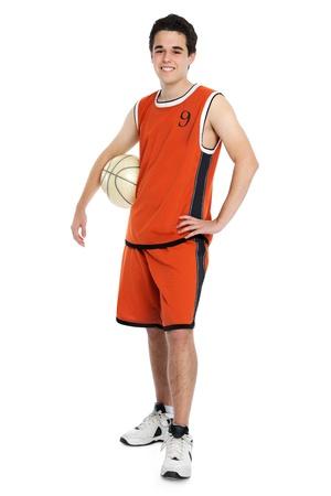 Basketball player on white background photo