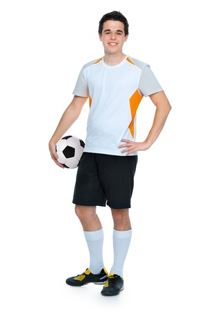 soccer player with a ball isolated on white background photo