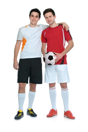 soccer players with a ball isolated on white background photo