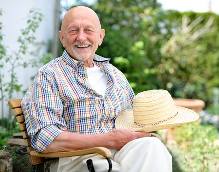 Portrait of senior man outdoors photo