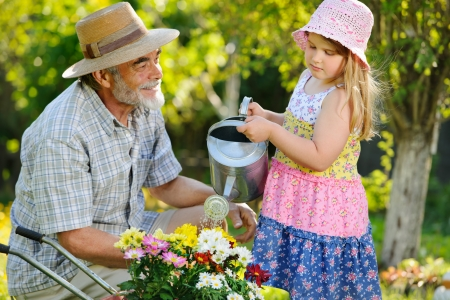 family gardening: Happy grandfather with his granddaughter working in the garden