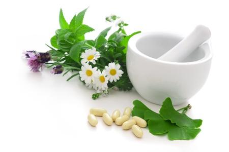 mortero: Hierbas curativas en mortero concepto de medicina alternativa
