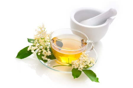 elder tree: Elder tea with elder flowers Stock Photo