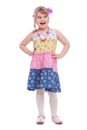 little girl surprised: Portrait of emotionally little girl isolated on white background