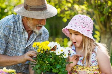femme papillon: Grand-père avec sa petite-fille en regardant un papillon ensemble Banque d'images