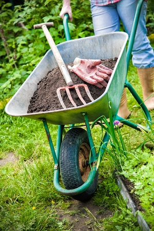 yard work: gardener with a wheelbarrow full of humus in the garden