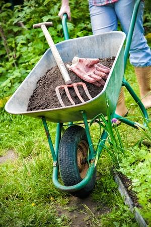 humus: gardener with a wheelbarrow full of humus in the garden
