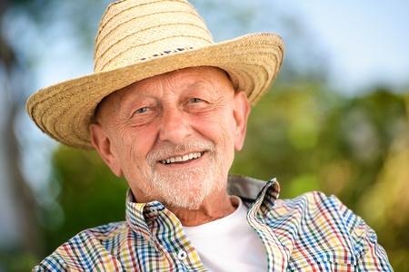 happy old people: Portrait of senior man outdoors