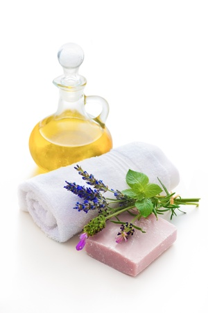 handmade herbal soap and towel with lavender photo
