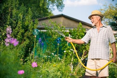 mangera: Superior hombre regar el jardín con manguera Foto de archivo