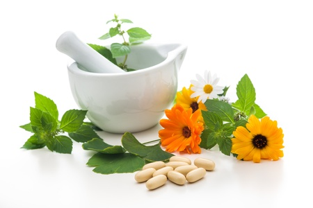 botanical medicine: Healing herbs and amortar. Alternative medicine concept