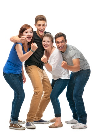 family unity: group of the college students  on a white background