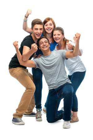 uni: group of the college students  on a white background