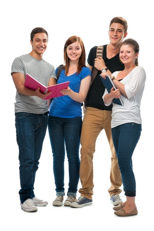 white women: group of the college students  on a white background