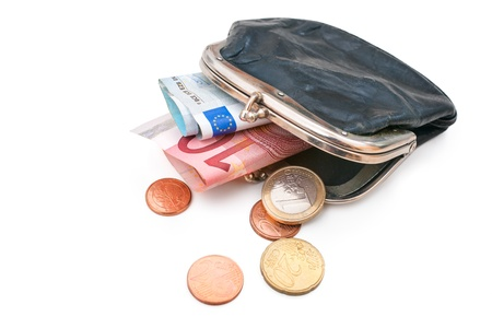 owe: Seniors wallet with Euro currency. Debt and poverty Stock Photo