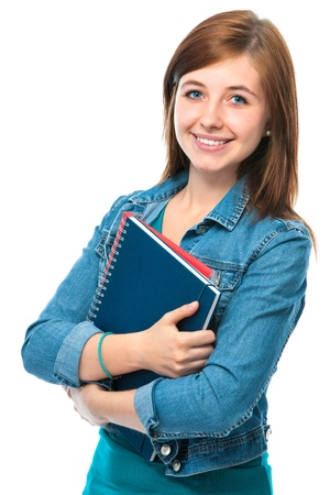 high school student: Beautiful student girl with books. Isolated on white Stock Photo