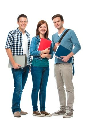 successful student: studentsfriends standing together on a white background Stock Photo