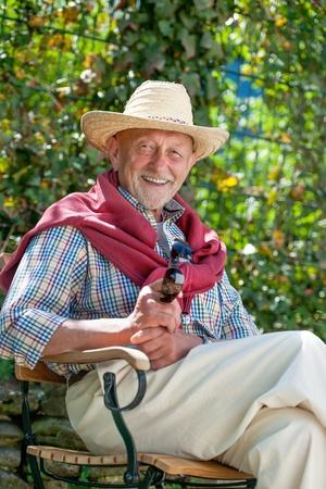 one senior: Portrait of senior man outdoors with sunglasses Stock Photo