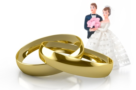 ring light: couple of gold wedding rings on white background