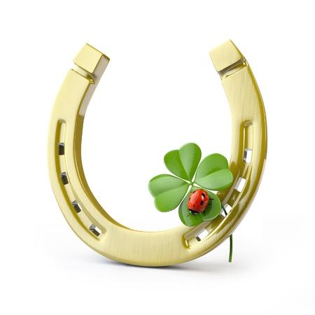 buena suerte: S�mbolos de suerte: de herradura, tr�bol de cuatro hojas y la mariquita Foto de archivo