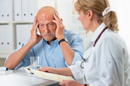 Patient tells the doctor about his health complaints