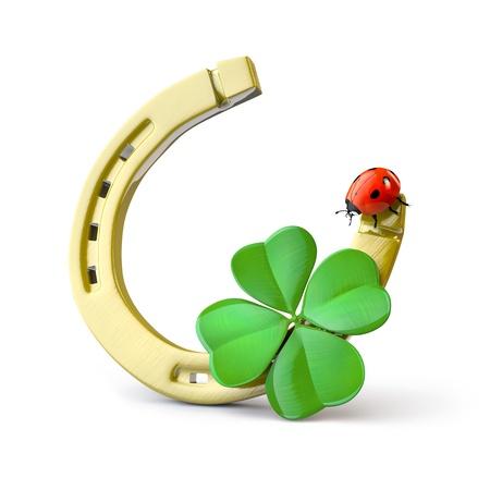 Símbolos de suerte: de herradura, trébol de cuatro hojas y la mariquita Foto de archivo