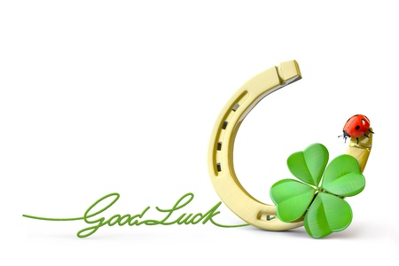 good luck: Lucky symbols : horse-shoe,  four-leaf clover and ladybug Stock Photo