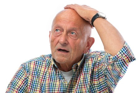 stupor: portrait of astonished senior man - isolated over white Stock Photo