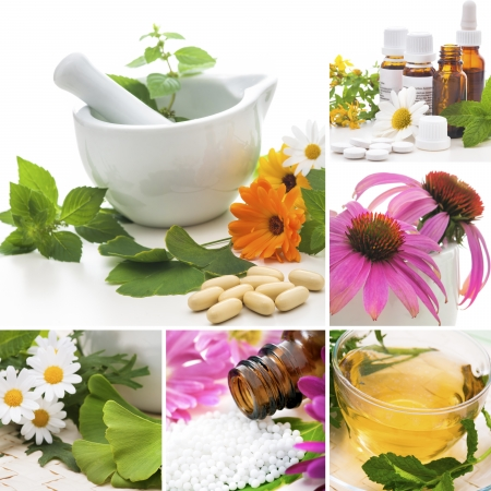Various homeopathy related images in a collage photo