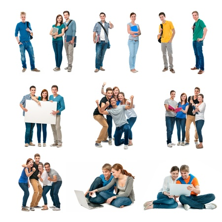estudiantes universitarios: Grupo de estudiantes aislados sobre fondo blanco