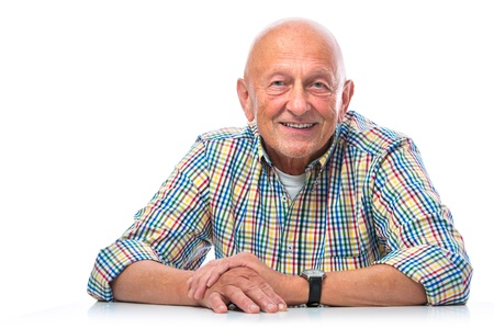 bald man: Portrait of a happy senior man smiling isolated on white Stock Photo