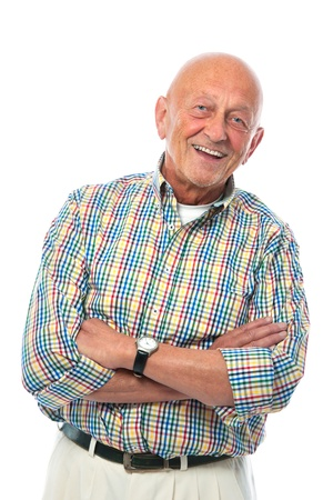 crossed: Portrait of  senior man with crossed arms isolated on white