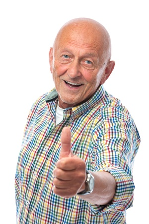 glad: happy senior man shows thumbs up isolated on white Stock Photo