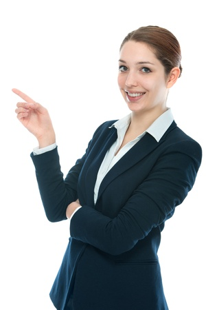 indicating: portrait of a beautiful businesswoman showing copyspace for texting Stock Photo