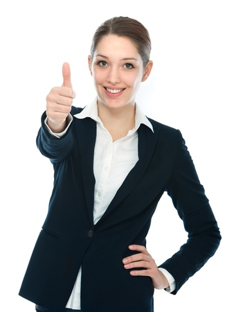 thumbup: Beautiful young businesswoman the thumb-up against white background