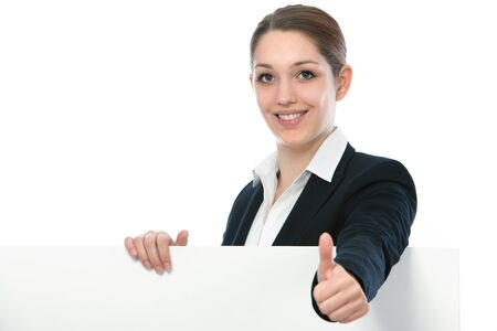 Businesswoman holding white blank empty billboard sign with copy space for text Stock Photo - 16192888