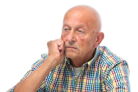 older men: Portrait of a thoughtful senior man looking away