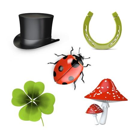 mariquitas: 3d colección de símbolos de buena suerte aislados en blanco