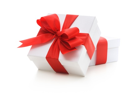 blank box: Gift boxes with red ribbon and bow on white background