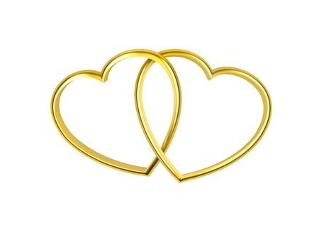 forever: 3D heart shaped golden rings on white background