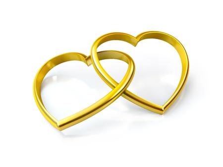 3D en forme de coeur anneaux dorés sur fond blanc