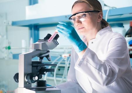microscope: Científico con un tubo de ensayo de trabajo en el laboratorio Foto de archivo