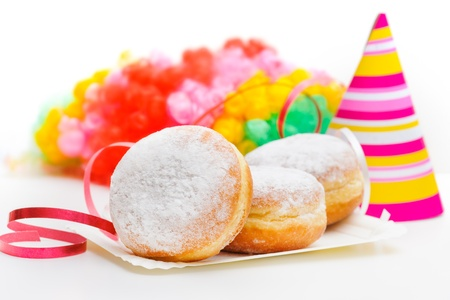 donut: a plate of donuts with carnival decoration Stock Photo
