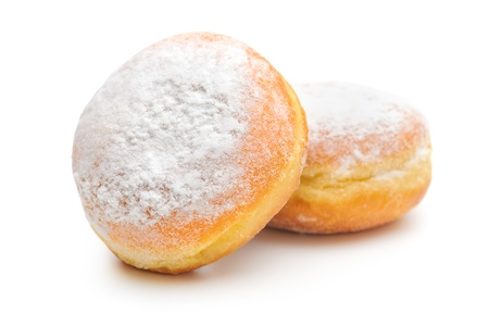 two sugary donuts on a white background