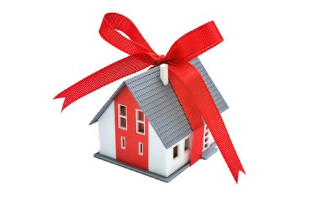 anniversary sale: Gift- house. Model of a house with red ribbon