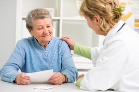 doctor explaining diagnosis to her female patient photo