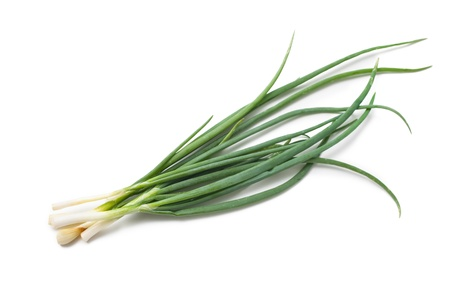 spring onions: fresh spring onions isolated on a white  background Stock Photo